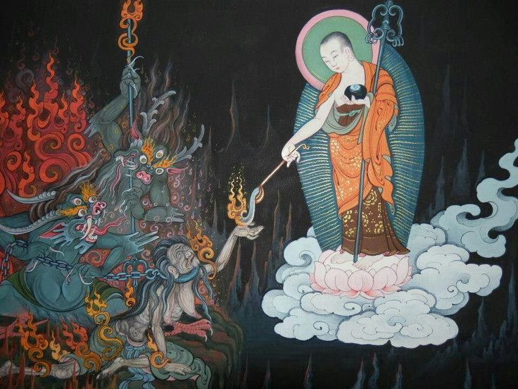 Buddha on a lotus throne, being nice to demons