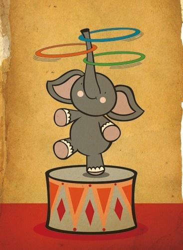 Ami-Louise Sharpe: Cartoon elephant spinning three hoops on trunk