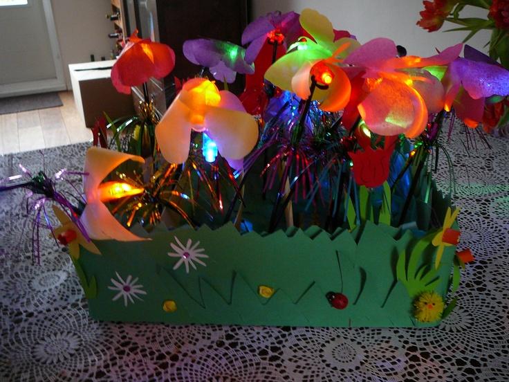 Verjaardag-Voorjaars-Tractatie.  Vlinders met een lichtje. Op een doosje snoepjes lijm je een groen papieren rondje (gras) daarop een rietje evt met franjes eraan. Daar doe je een klein vingerlampje (Action) aan en lijm je een papieren vlinder bovenop. Plaats alles in een mooie (als tuin) versierde doos en voilà... een originele, makkelijke traktatie. De lampjes zijn een nog groter succes dan de snoepjes.