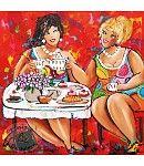 Vrolijk Schilderij van dikke dames die gezellig een kopje koffie drinken.