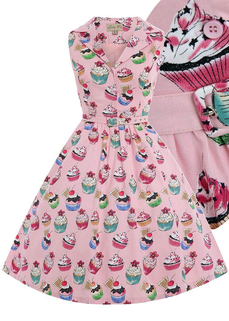 Lindy Bop Mathilda cupcake 50s dress pastel pink