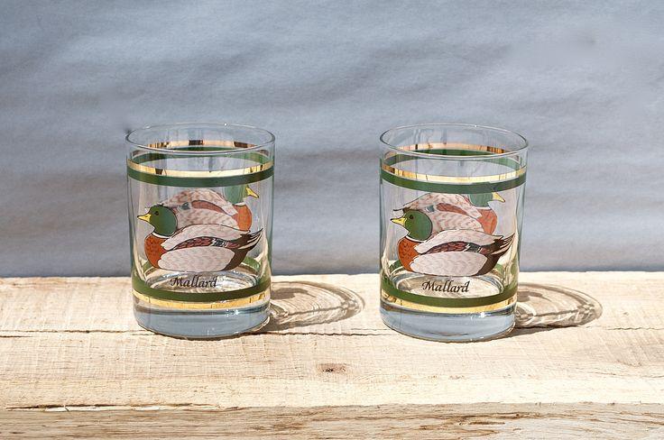 Vintage Mid Century Modern Mallard Duck Glasses-Whiskey Glasses-Lowball-Rocks Glass-Mad Men Barware-BarCart Accessory-Culver-MidCentury Bar by HazelHuezDesign on Etsy