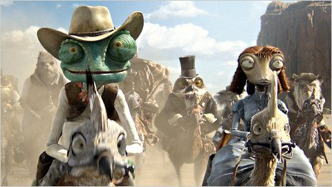 """Johnny Depp provides the voice of the title character, center, in the animated film """"Rango."""" Isla Fisher supplies the voice of his romantic interest, a spirited frontier creature called Beans, right."""