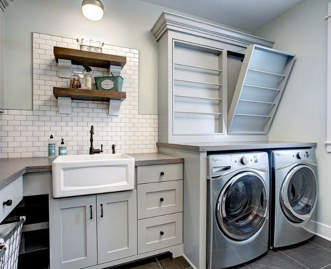 Farmhouse Laundry Room With Custom Drying Rack Subway Tile Backsplash Open Shelves And
