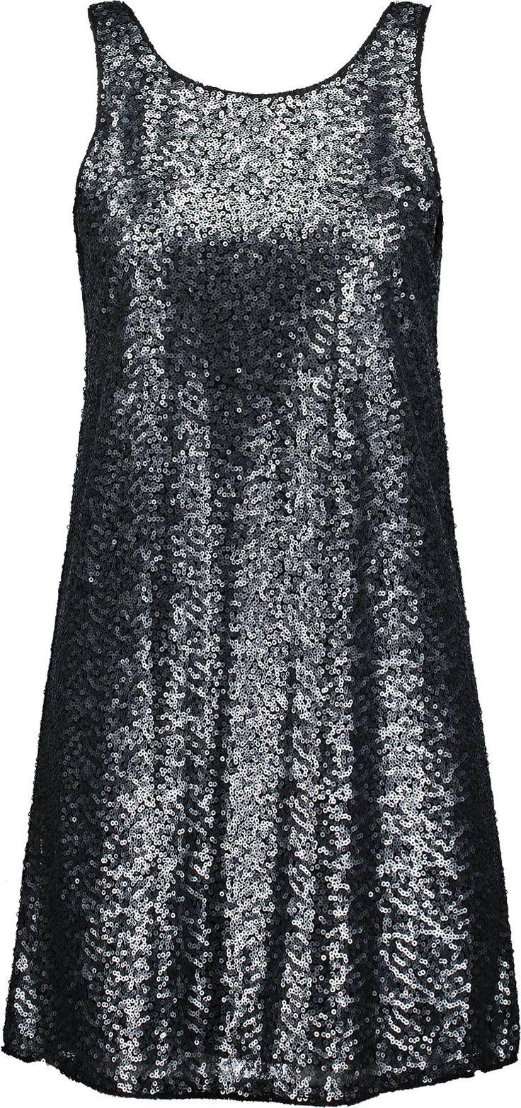 Paillettenkleid  von TOM TAILOR DENIM, schwarz.