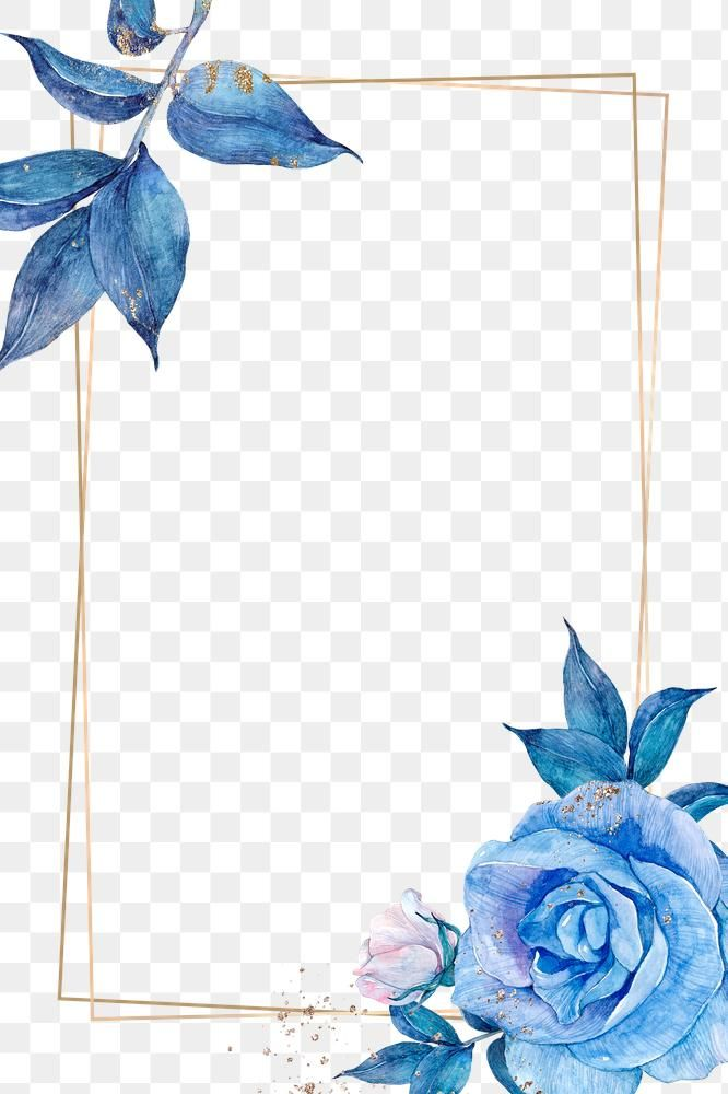 Png Floral Frame In Watercolor Free Image By Rawpixel Com Adj Blue Watercolor Floral Blue Background Patterns Pastel Blue Background