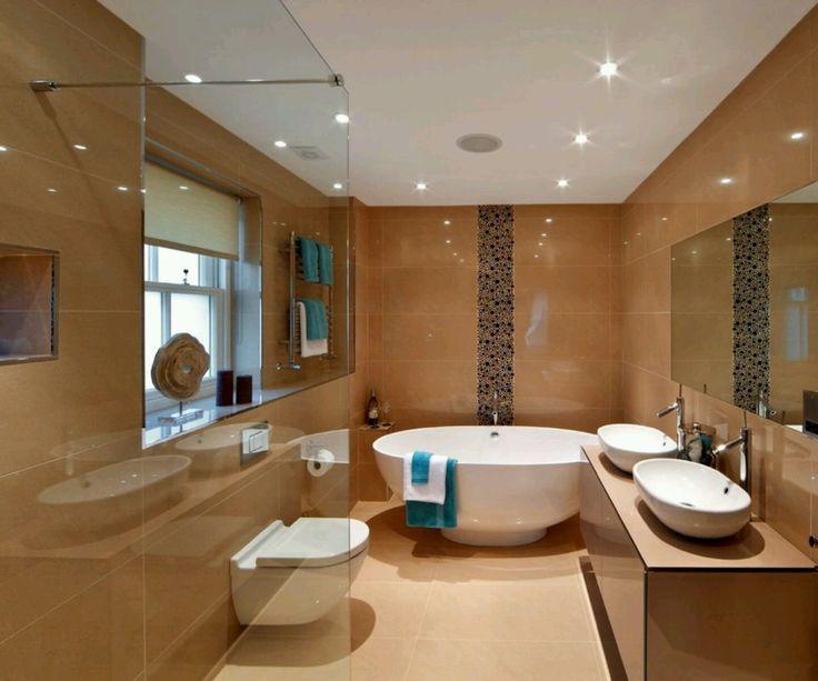 Brown Bathroom Designs. Elegant Bathroom Vanity Design Ideas With Recessed Lighting And Modern  Bathtub Also Using Wall Tiles 137 best Decor images on Pinterest Bathrooms