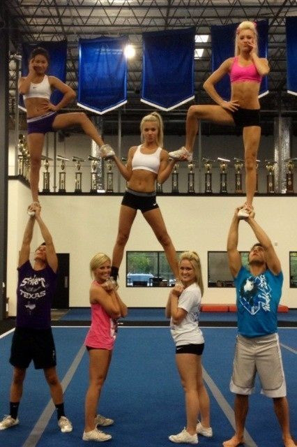 Similar stunt for pyramid but not a one man and only one person in an extension