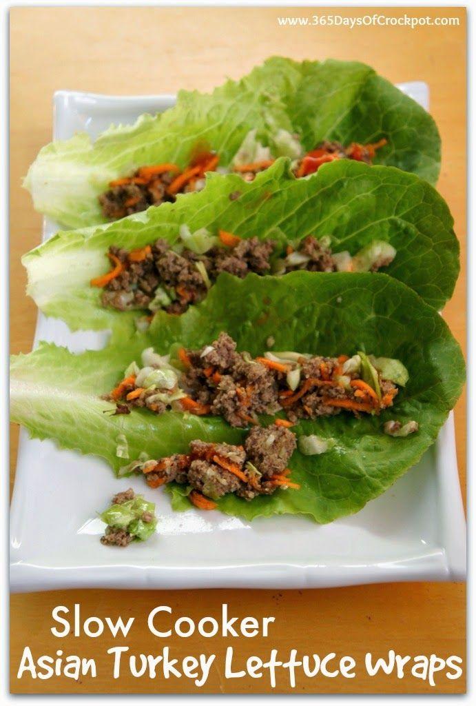 Recipe for Slow Cooker Asian Turkey Lettuce Wraps with Sriracha #slowcookersummersuppers #healthyrecipe #easydinner