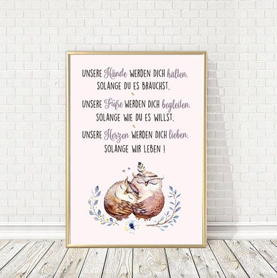 Poster Unser Hände Werden Dich Tragen Eulen Geburt