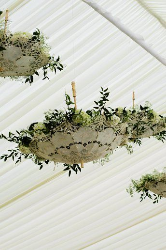A great way to decorate a boring marquee. Just add fairy lights and flowers into upturned parasols!