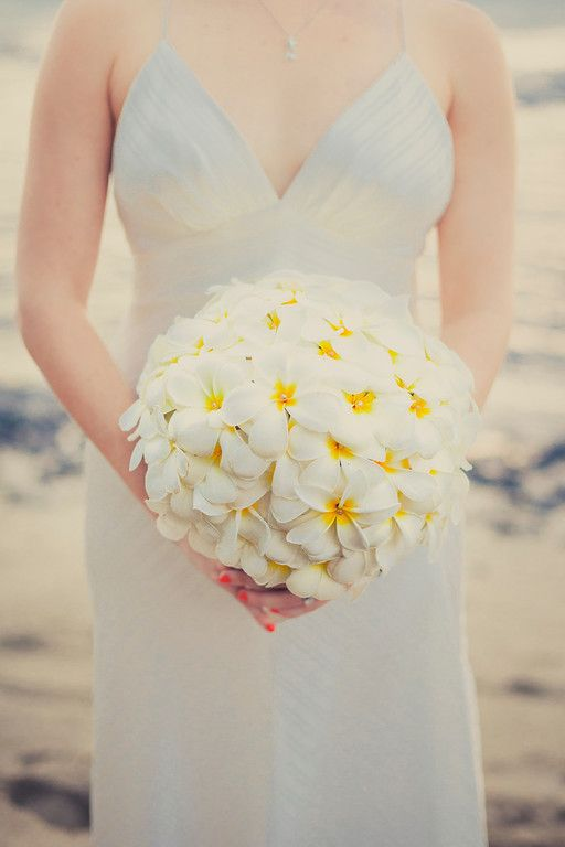 Plumeria Bouquet - Kona Hawaii Weddings » www.vintageandlaceweddings.com