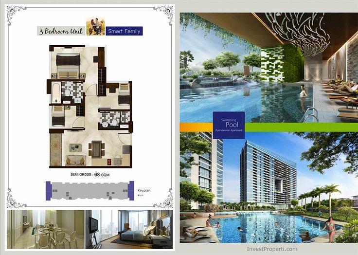 Tipe unit 3 kamar tidur Puri Mansion Apartemen.