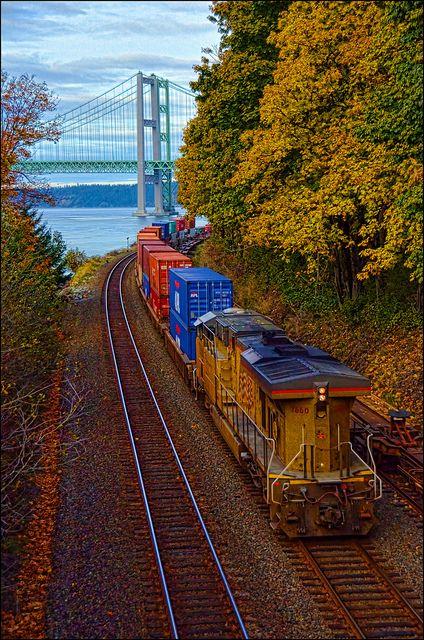 Train with the Tacoma Narrows Bridges, Tacoma, Washington
