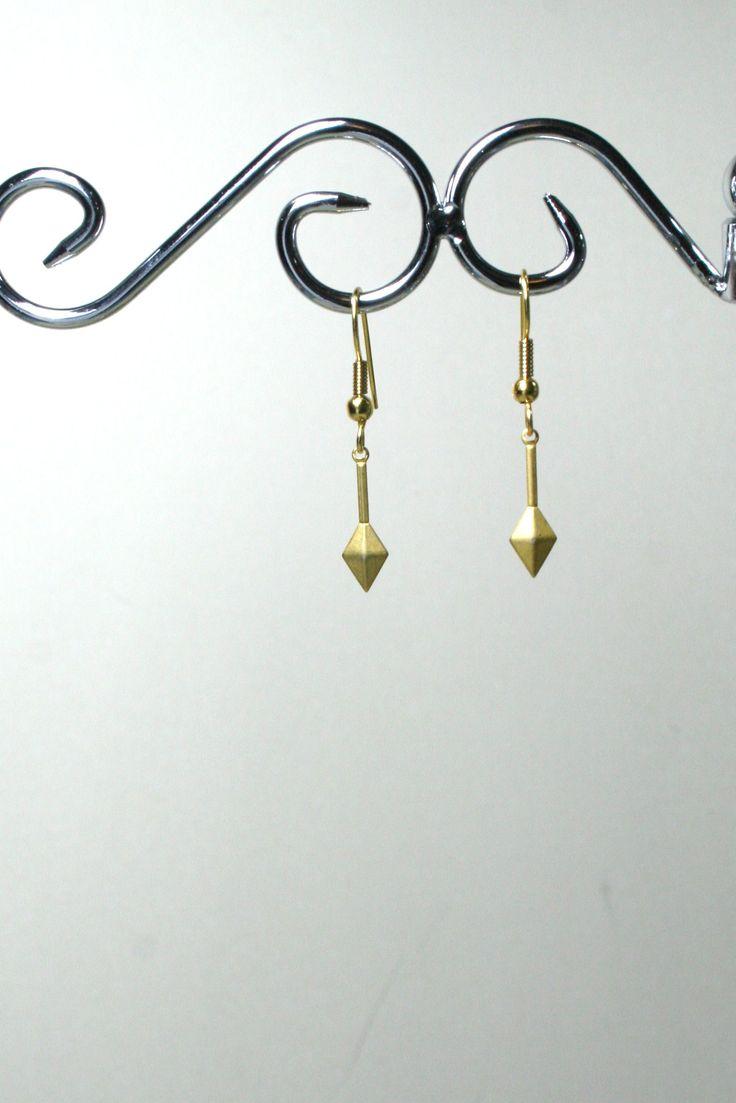 Gold diamond shape pendant earrings  €5.00  www.facebook.com/Supposejewellery