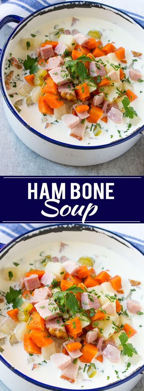 This recipe for ham bone soup is a creamy soup that's loaded with ham, potatoes and veggies. The perfect way to use up leftover holiday ham!