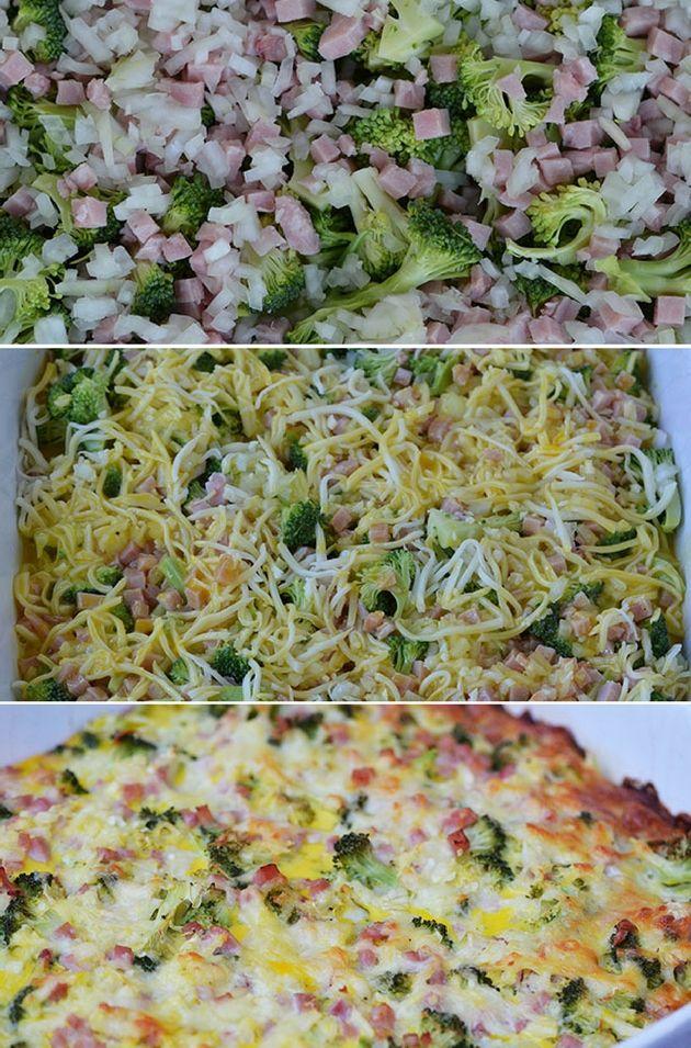 Vildt nem æggekage med broccoli, skinke og ost - det hele passer sig selv i ovnen, så du kan lave andre ting imens.