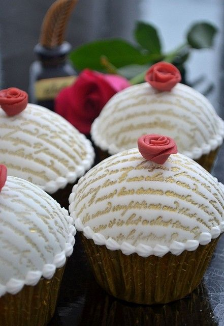Love Letter Embossed Chocolate Truffle Torte Cupcakes (just an image, but beautiful design!)