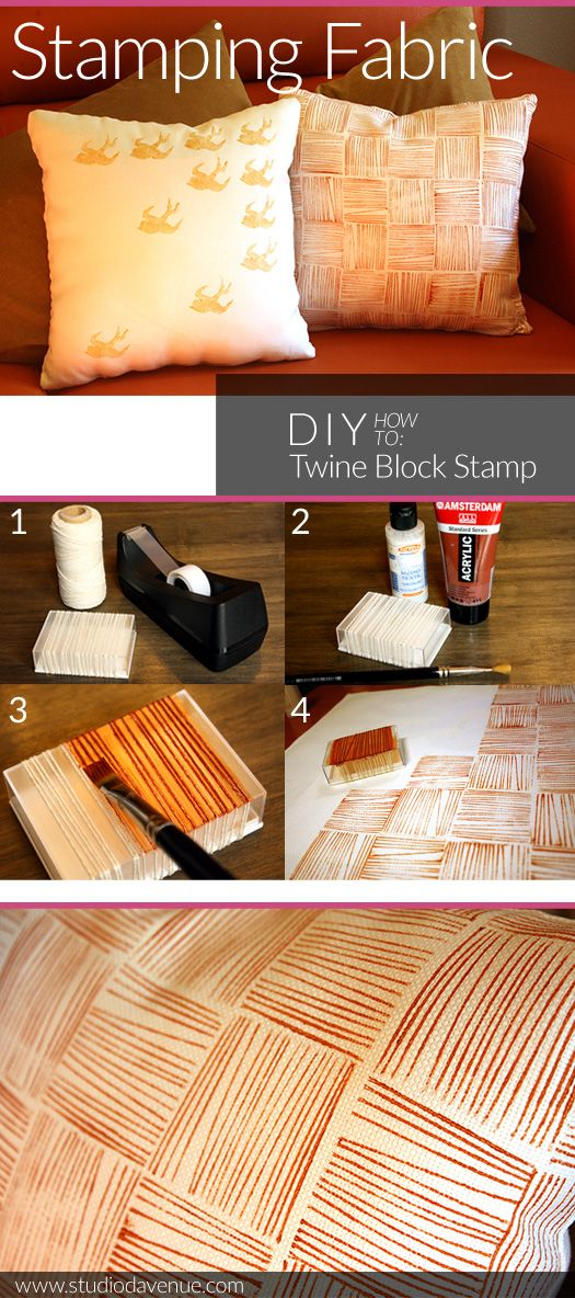 Hand-print your own fabric for throw pillows: DIY Twine Block Stamp from Studio Davenue