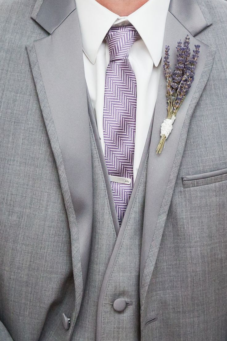 """Alternative to typical boutonniere. Have you seen the lavender candle jar in the """"Table Decoration"""" board? This would be the perfect equivalent to it."""