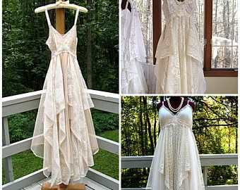 RESERVED FOR SHANNON - Empire waist tattered wedding dress, made to order in shades of white, ivory, or beige, by Lily Whitepad