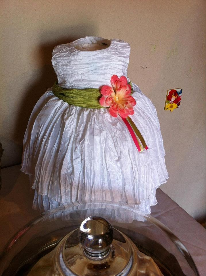 DIY Pamper cake. Cute little dress over the tiers of pampers. Shabby chic pamper cake.