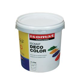 ISOMAT DECO COLOR: Pigments in powder form. High-quality, inorganic pigments, used for coloring mortars and concrete. Ideal for coloring cement mortars. They may also be added in DUROCRET-DECO and DUROCRET-DECO FINISH cement mortars, as well as many other mortars, such as FLOWCRET self-leveling mortars. Suitable for indoor and outdoor applications.