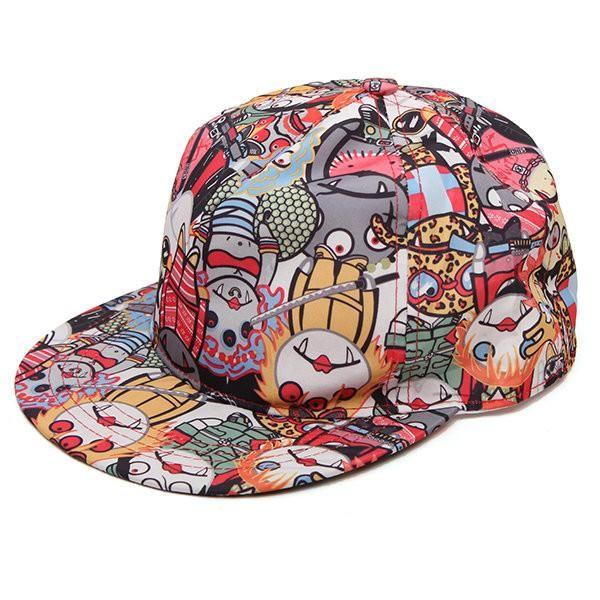 Graffiti Eye Vampire Cartoon Hip-Hop Cap Baseball Hat Flat Outdoor Adjustable Cap