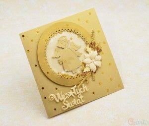 Kartka na Boże Narodzenie z aniołkiem złota