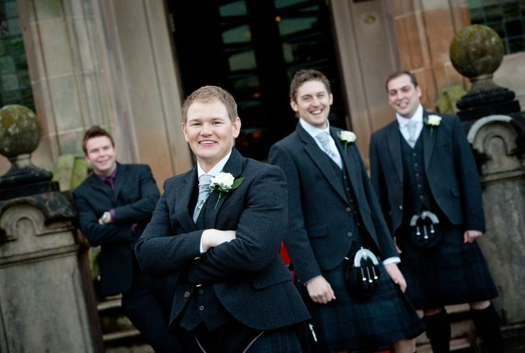 Ben with his groomsmen! The groomsmen and Ben are wearing the exclusive Silver Mist tartan kilt and exclusive Glen Orchy Tweed jacket and waistcoat, with Ben wearing a lighter sporran to ensure he stands out as the groom! #macgregorandmacduff #kingsofkilts #scottish #wedding #judeandben #scottishwedding #macgregorandmacduffweddings @1500photography