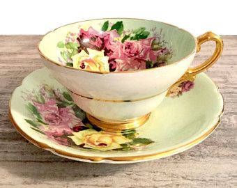 Vintage Tea cup Mint Green Teacup Flower, Stanley Fine Bone China, Pink Yellow Roses Teacup, Wide-Mouth Cup, Gold Handle, Made in England