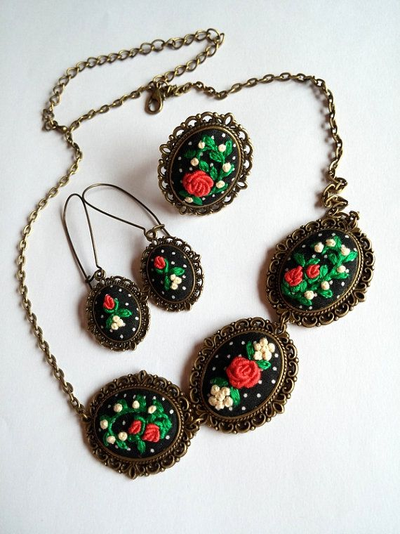 Embroidered Floral Jewelry Statement Necklace by RedWorkStitches