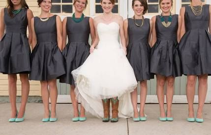 Bridesmaids in Alfred Sung dresses from Weddington Way and teal heels. Love the bride wearing cowboy boots - perfect rustic wedding attire!