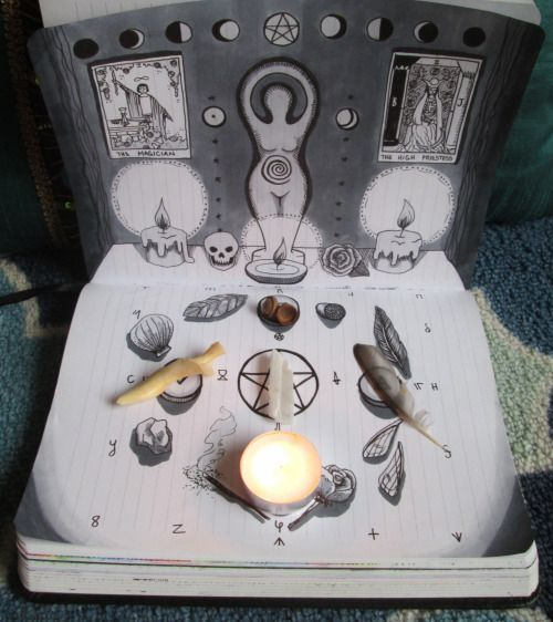 """stellawitchcraft: """"I've been meaning to make some kind of portable altar for a while, figuring I'd just put together some kind of tiny kit for travel or something. Then I was like HEY WAIT, I COULD JUST DRAW ONE IN MY GRIMOIRE"""" travel pocket altar"""