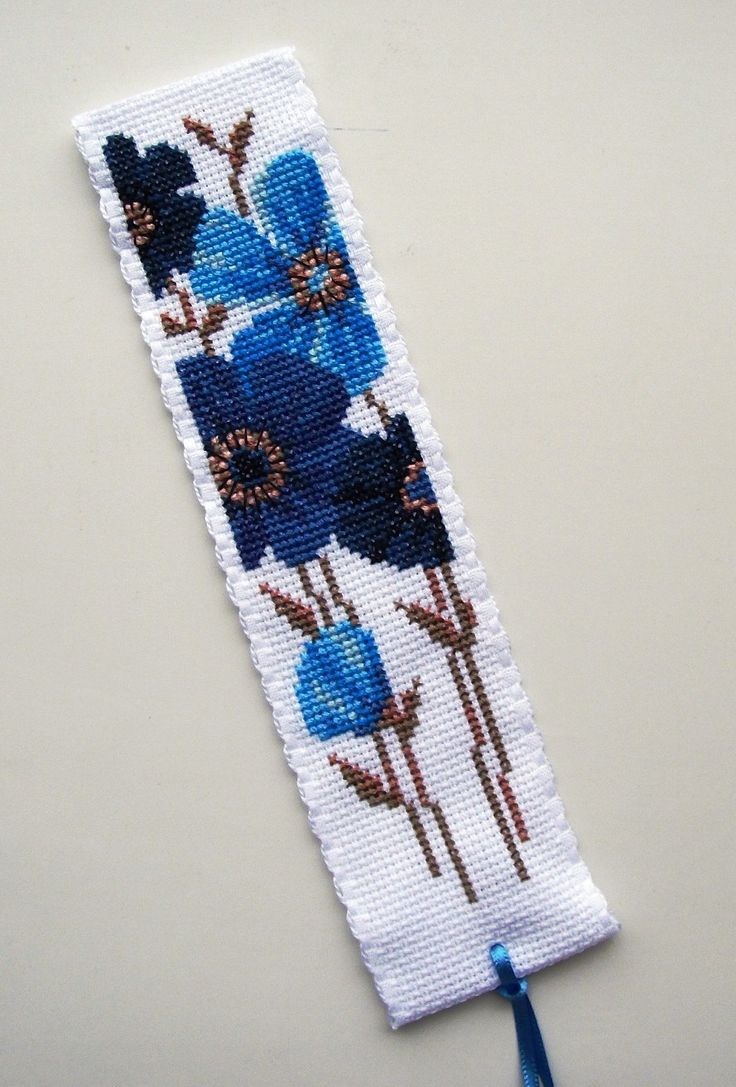 Blue Flowers bookmark 2. Vervaco.
