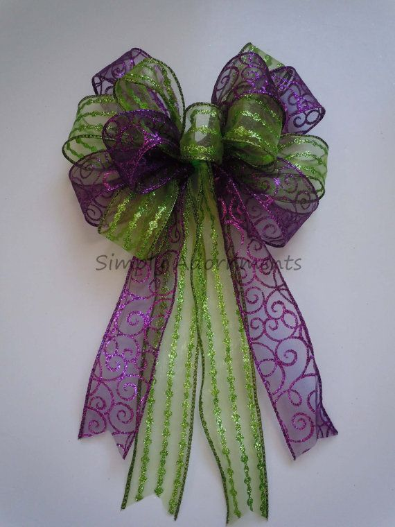 Purple Green Wedding Church Pew Bow By SimplyAdornmentsss 750