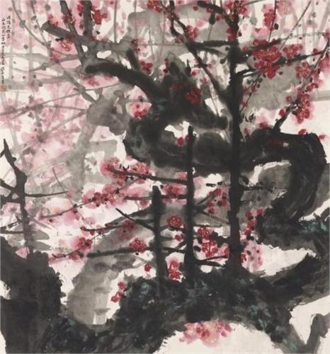 Red Plum Blossoms - Huang Yongyu