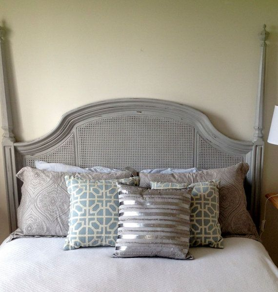 Queen Cane Headboard Painted Annie Sloan Distressed Paris