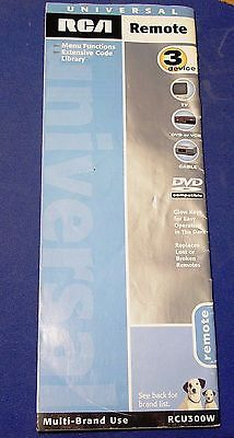 RCA UNIVERSAL REMOTE CONTROL RCU300W TV TELEVISION OWNER MANUAL w/ CODE LIST