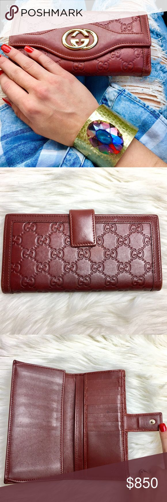 GUCCI Guccissima Embossed Burgundy Wallet Authentic guaranteed! Datecode is stamped inside (can add a pic) Super Rare Wallet in stunning burgundy color. This wallet feature a polished Gucci logo hardware @ embossed monogram. Lined interior with 12 card slots, 2 cash pockets, and a zip compartment.  Very good pre-owned condition with some minor rubbing on the corners and small spot on one of the credit card slots inside. Overall looks amazing. Great quality and will last for years! ❤ Follow…