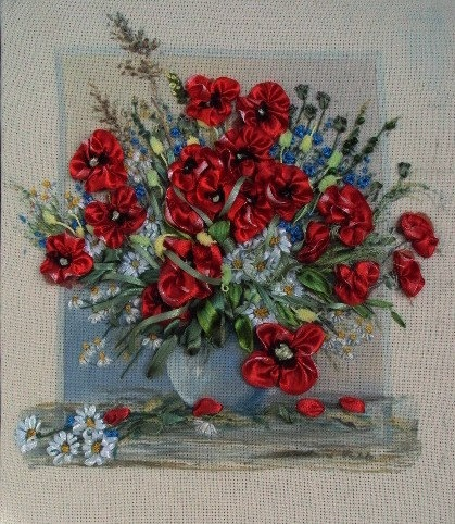 Flowers in vase  Silk ribbon embroidery by SilkRibbonembroidery, €50.00