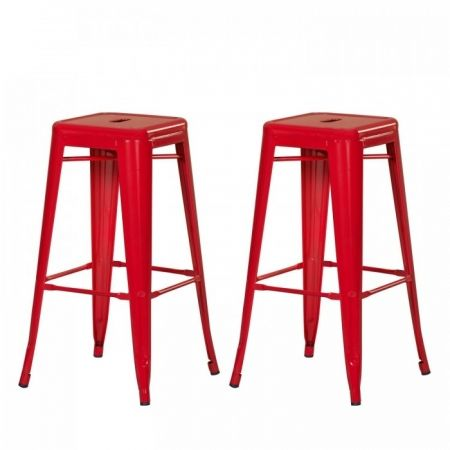 Joveco Red Sheet Metal Frame Tolix Style Bar Stool - Set of 2 - JCH39-R | Jovecoinc.com