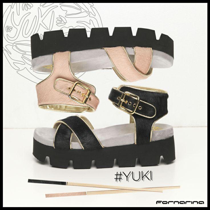 Pink & Black pony hair #Yuki with golden details. #Fornarina #Flatform #Shoesaddict #Chopsticks #Japan #Inspiration