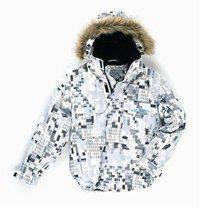 Chasseur alpin Quick Silver - Mode enfants contre le froid - La tenue camouflage des chasseurs alpins revisitée pour les jeunes snowboarders. L'imprimé est un mélange de petites figures géométriques et de logos stylisés sur fond bl