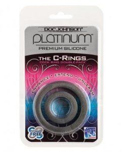 Platinum silicone c rings set - charcoal (Package Of 6) Half Case by Doc Johnson. $64.52. 6 Pack. great bedroom gift. Great to stock your shelfs. The Doc Johnson Platinum Silicone C Ring Set is a great combo pack: one small and one large cock ring packaged together for your convenience. Made of 100% platinum silicone; completely nonporous, body-safe, and phthalate-free. Easy to use; safe stretchy construction makes for a comfortable and pleasurable experien...