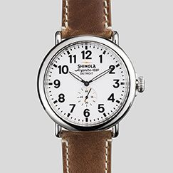 The Runwell Watch 47mm White Dial Leather Band | Shinola®