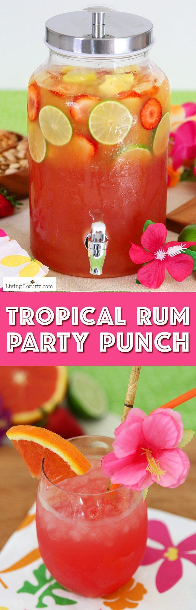 Summer Luau Party Ideas! Tropical rum punch is a delicious summer cocktail recipe for a luau party or to sip by the pool! A mix of juice and coconut rum for a pretty layered drink. (luau party foods appetizers)