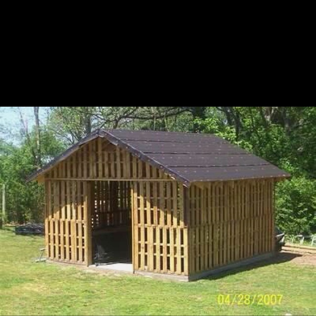 Pallet barn/shed. This might work well for a green house or smaller version dog house