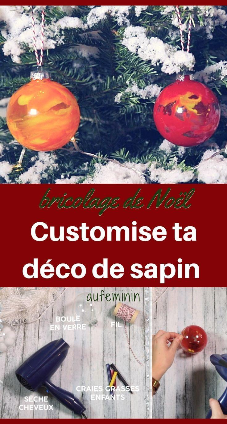 Avec une boule de verre, quelques morceaux de craies de cire Crayola, et un sèche-cheveux, réalisez de très jolies boules pour votre sapin de Noël, façon verre soufflé ! /// #aufeminin #sapin #sapindenoel #bouledenoel #diy #diynoël #bricolage #bricolagesdenoel #tuto #facile