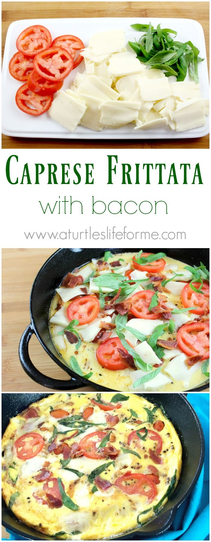Caprese Frittata with bacon recipe for an easy breakfast or brunch!